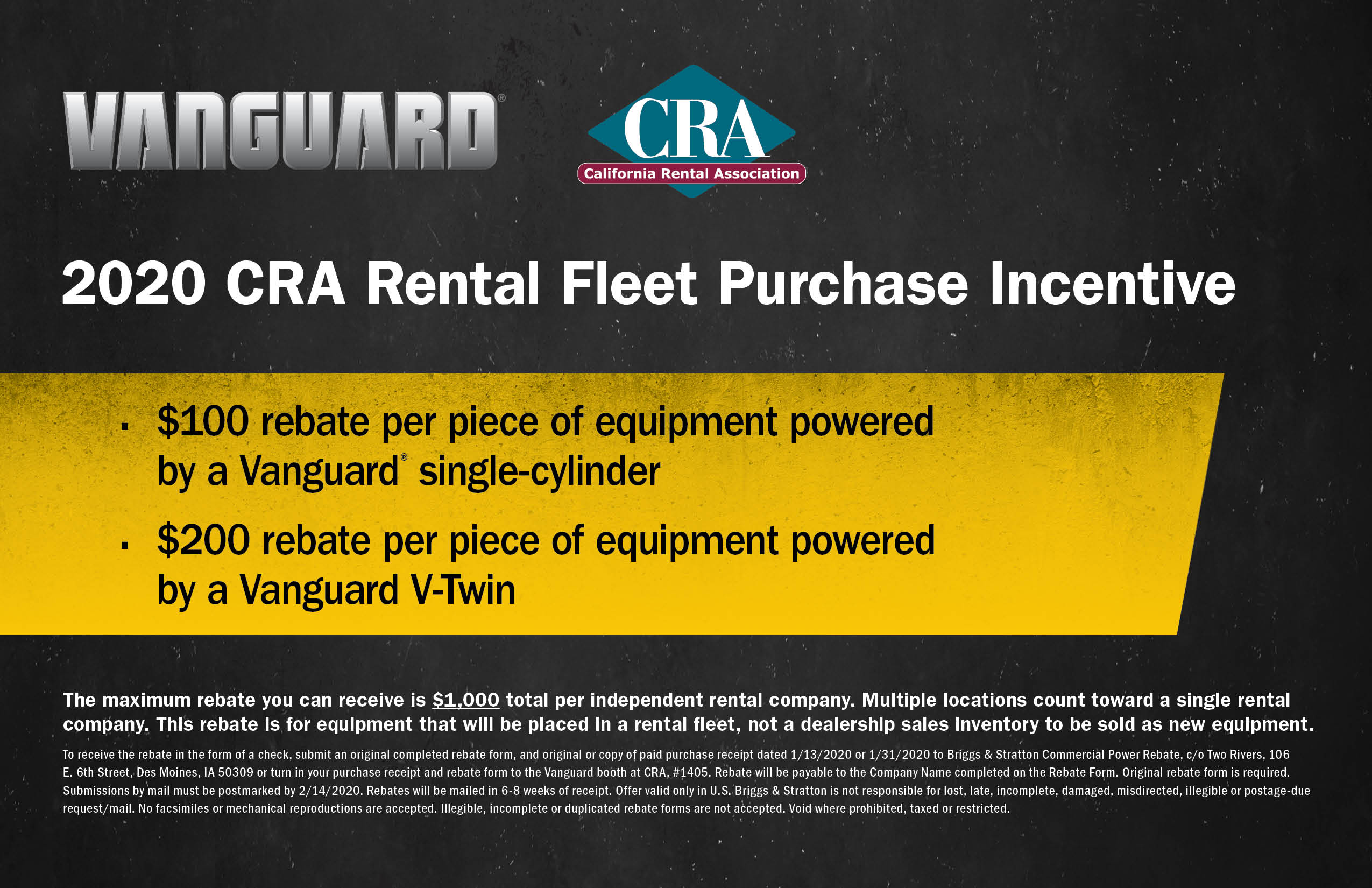 Vanguard 2020 CRA rental fleet purchase incentive