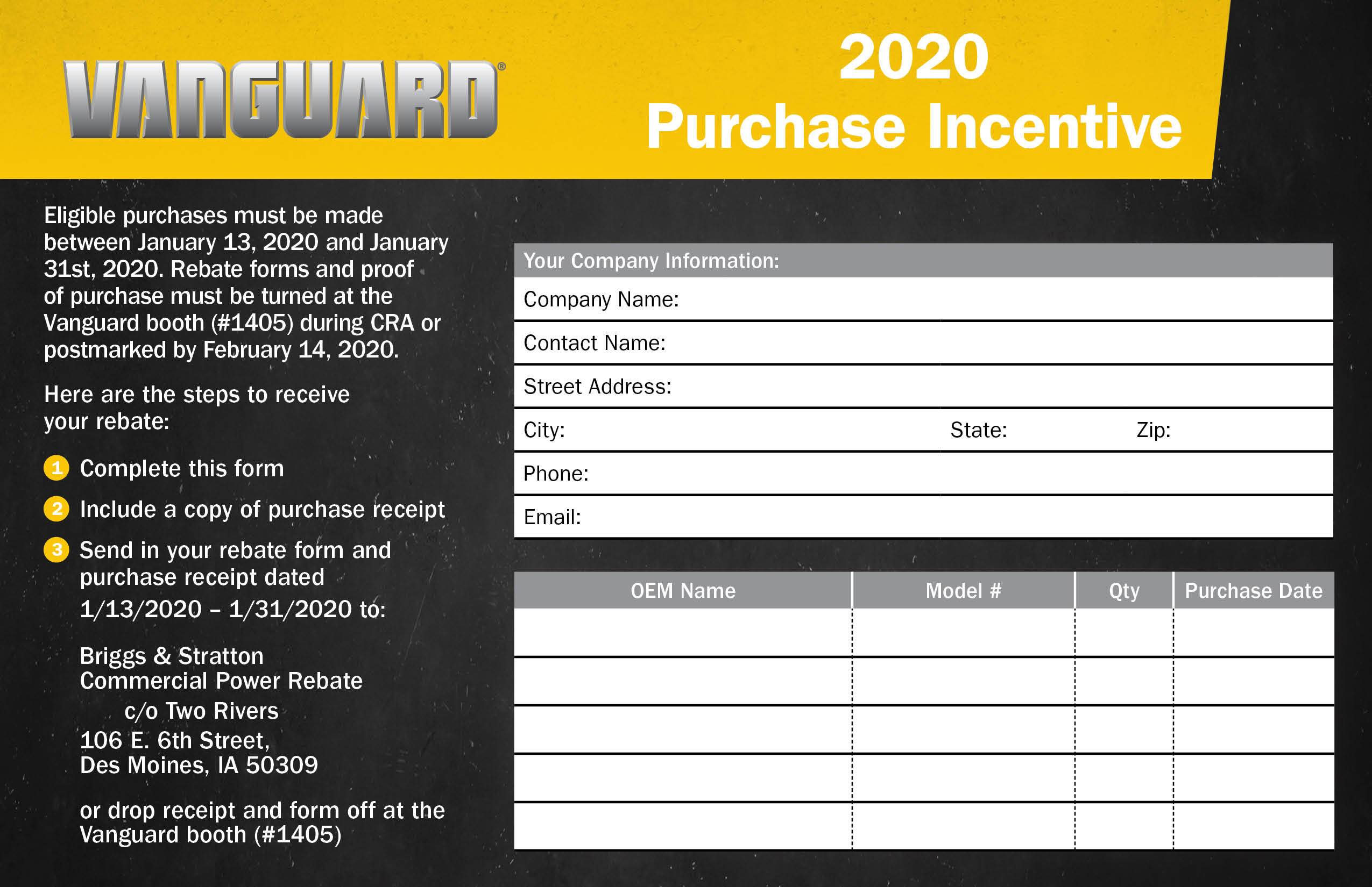 Vanguard 2020 CRA rental fleet purchase incentive rebate form