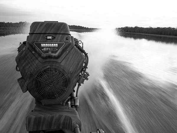 Vanguard engine on the back of a mud boat