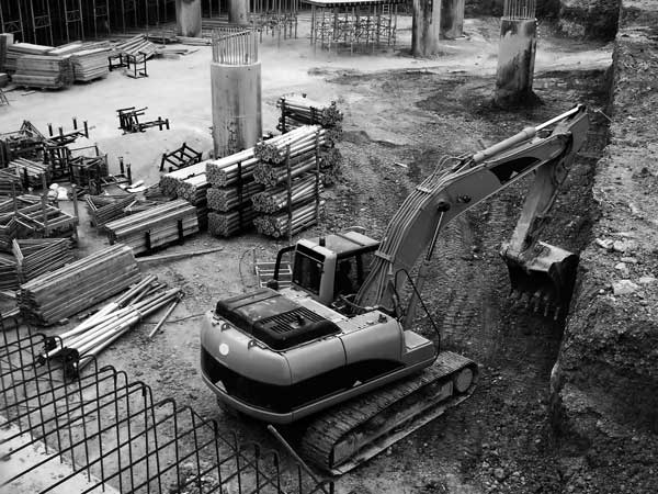 Construction site with equipment powered by Vanguard